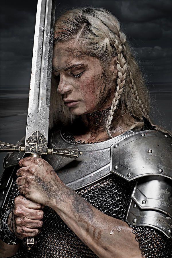 Beautiful Blonde Sword wielding viking warrior female Photograph by Lorado