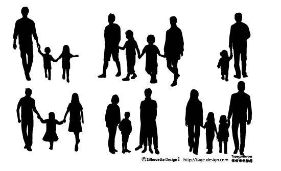 家族のシルエット シルエット 人物 手描きイラスト