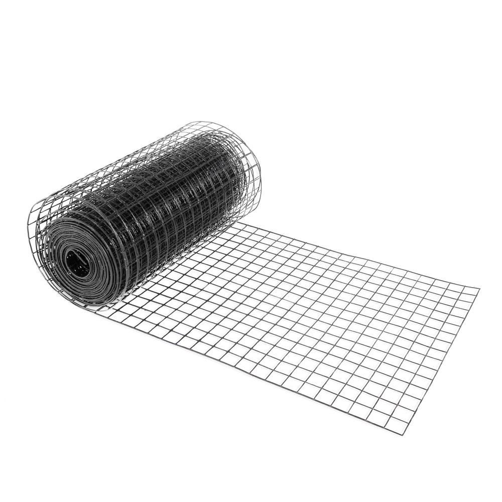 Fencer Wire 4 Ft X 50 Ft 16 Gauge Black Pvc Coated Welded Wire Mesh Size 1 5 In X 1 5 In Wv16 B4x50m1h1h The Home Depot Fencer Wire Wire Mesh Pvc Coat