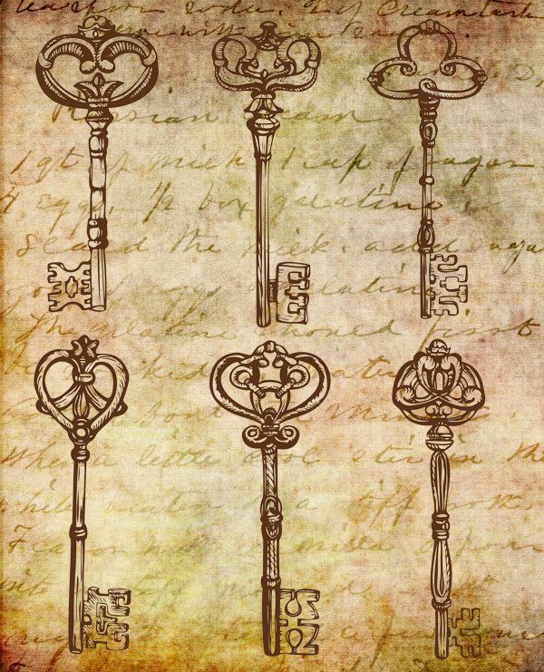 Mixed technic, digital treatment of vintage style drawing Beautiful Old Keys