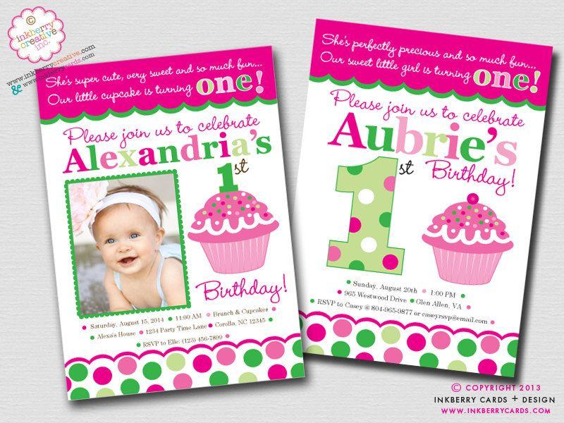 1st birthday cupcake invitations - Google Search | Birthdays ...