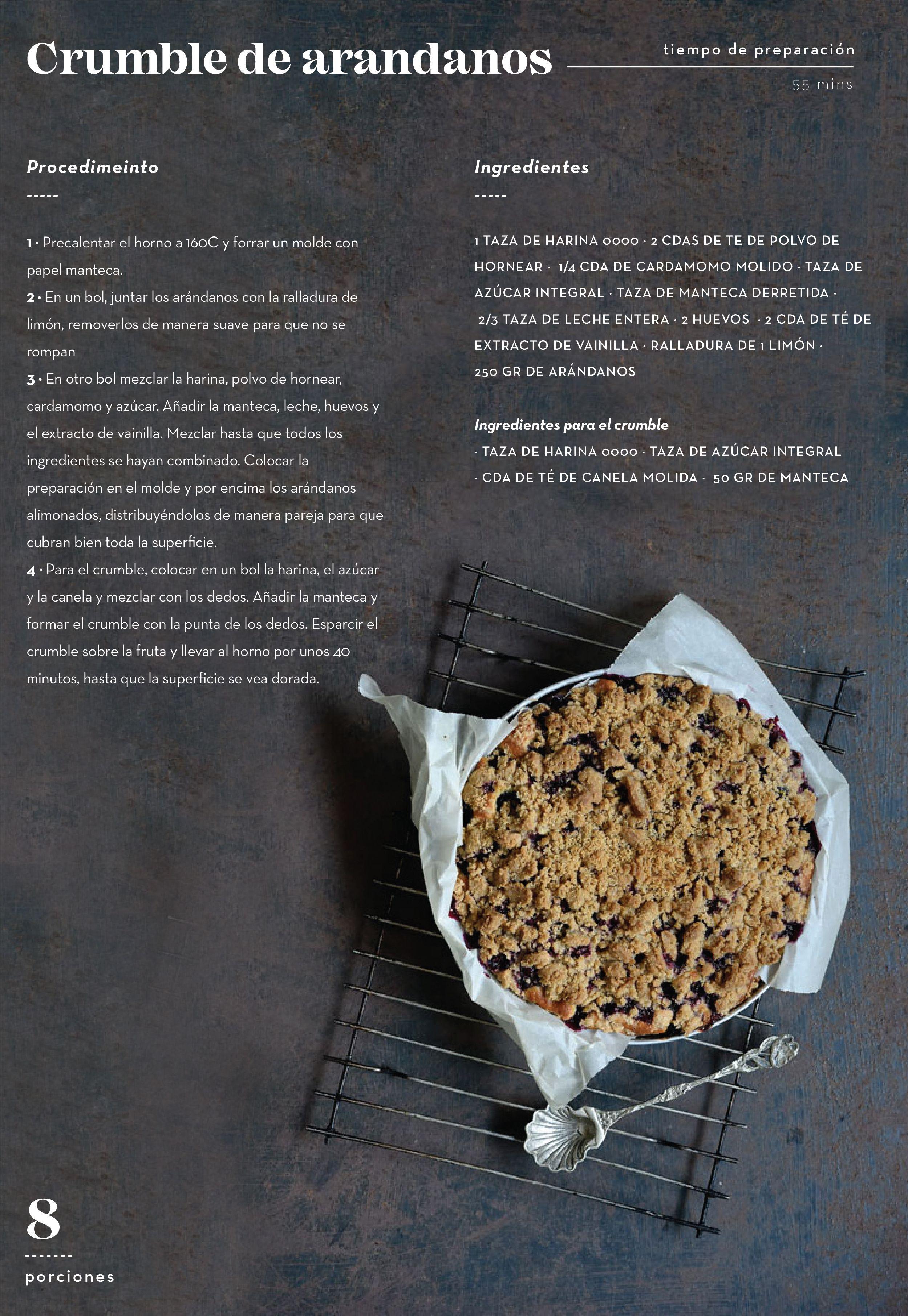 Crumble De Arándanos Y Cardamomo Revista Tigris Recetas De Comida Crumble De Arándanos Gourmet