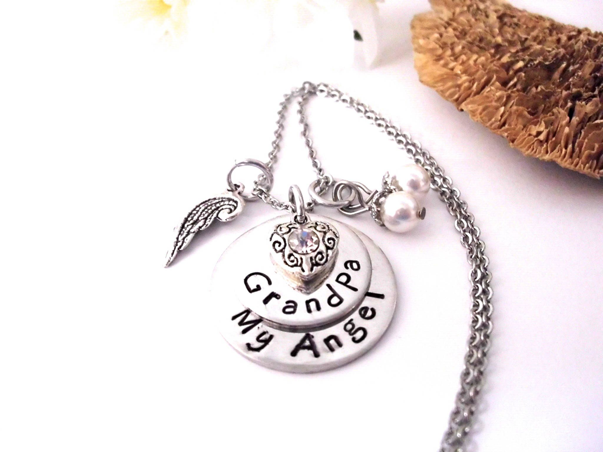 pewter memorial necklace with angel edited wing charm small galvanic cross necklaces engraved and mom