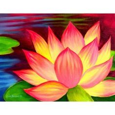 Colorful Waterlily Painting That Is Easy Canvas For Beginners