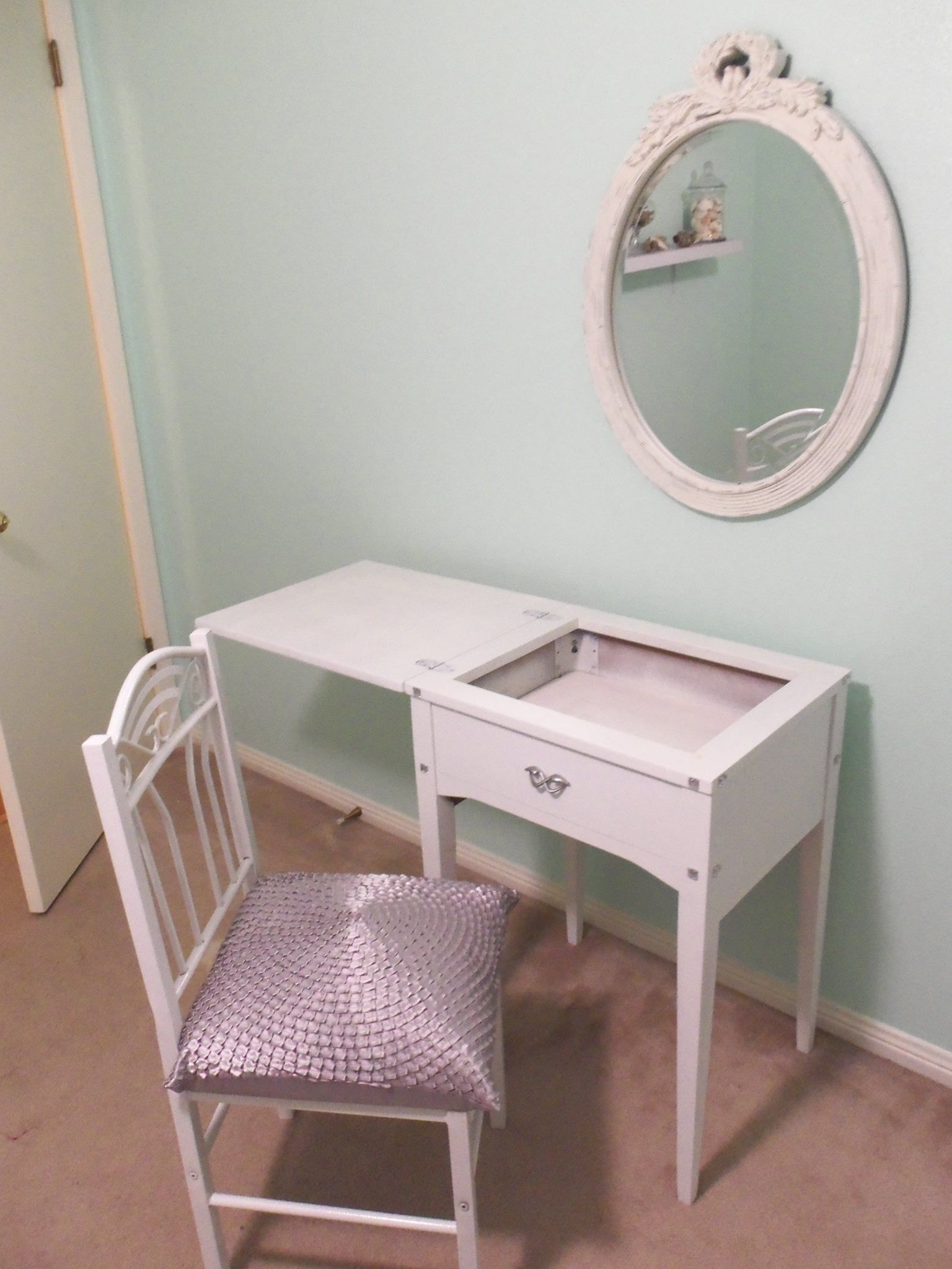Mom s old sewing table converted into a makeup vanity
