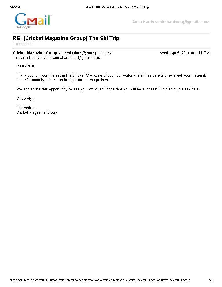 Rejection letter from Cicada (Cricket Magazine Group) of  - job rejection letters