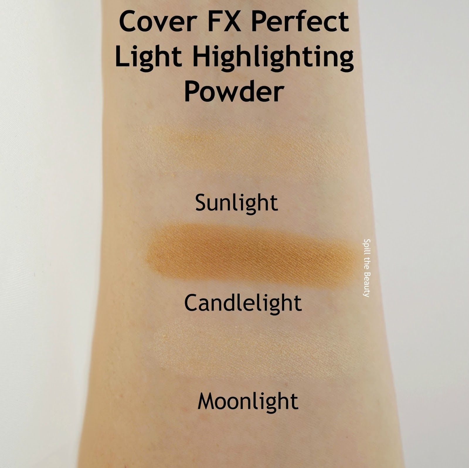 Cover Fx Perfect Light Highlighting Powder Sunlight Candlelight Moonlight Review And Swatches Cover Fx Perfect Lights Candlelight