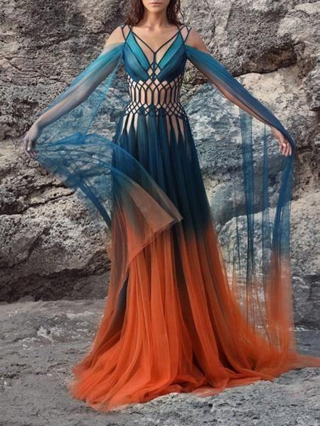 Mesh V-Neck Floor-Length Color Block A-Line Dress
