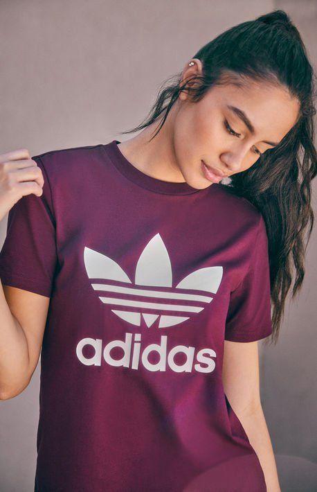 36ff2df85f08a Burgundy Trefoil T-Shirt | stuff hayley wants (clothes) in 2019 | T ...