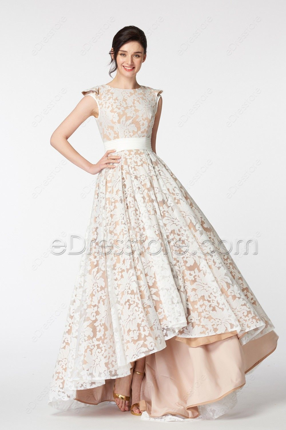 Modest White Lace Champagne High Low Prom Dresses Cap Sleeves in ... f0b40dc84