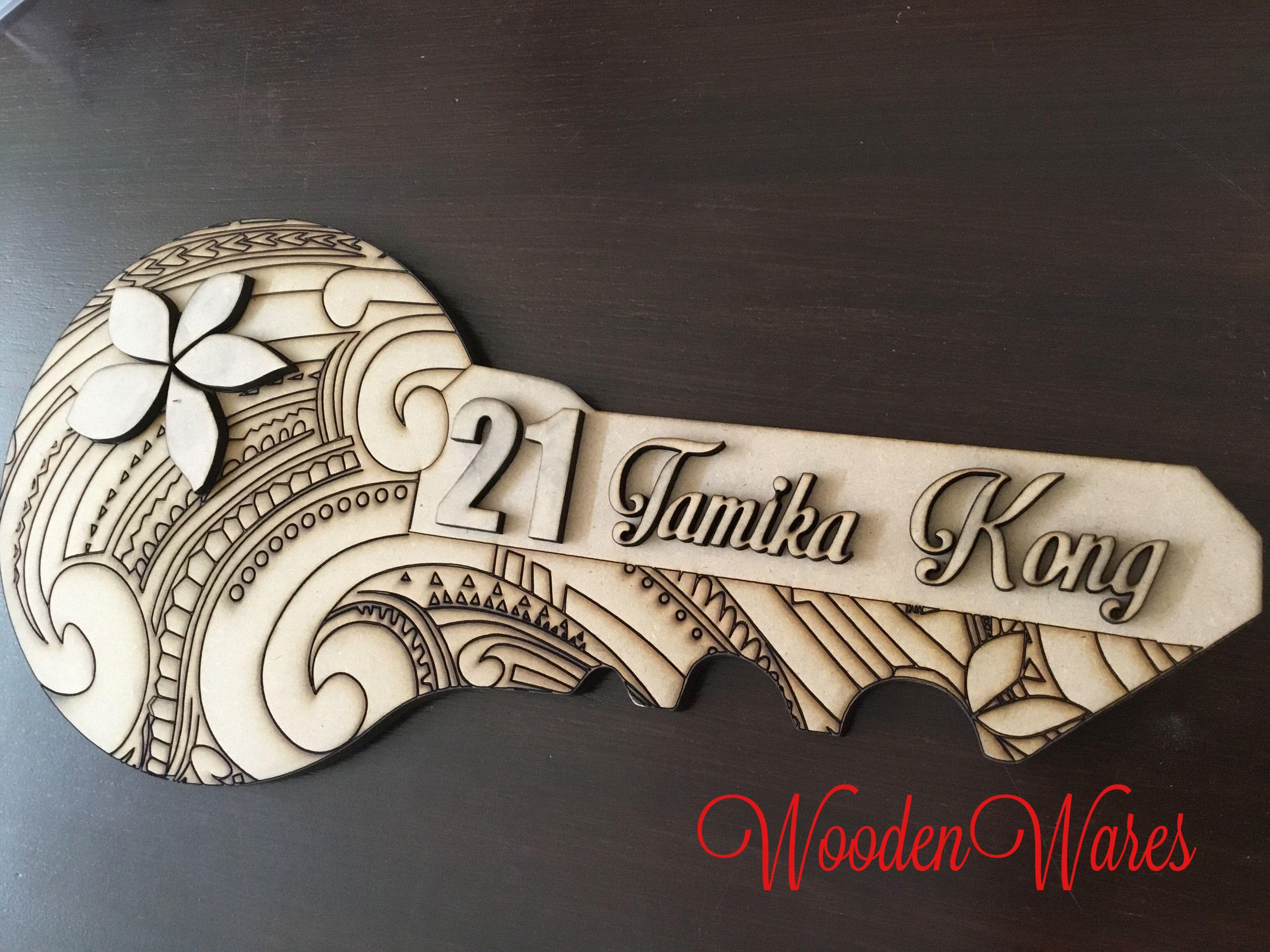 21st Tattoo Birthday Key - WoodenWares.com.au Brisbane Australia mdf craft wood
