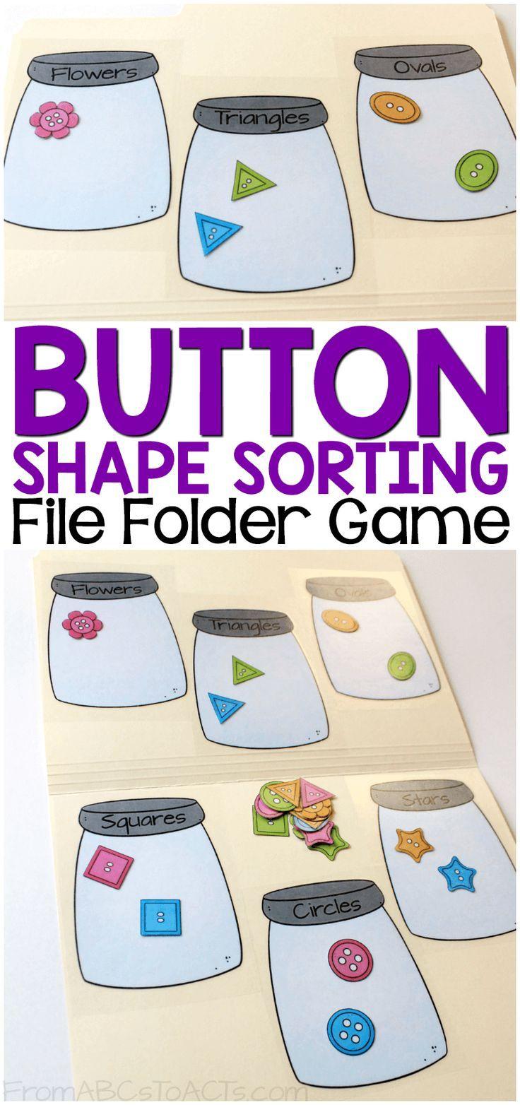 Button Shape Sorting Printable File Folder Game | Preschool ...