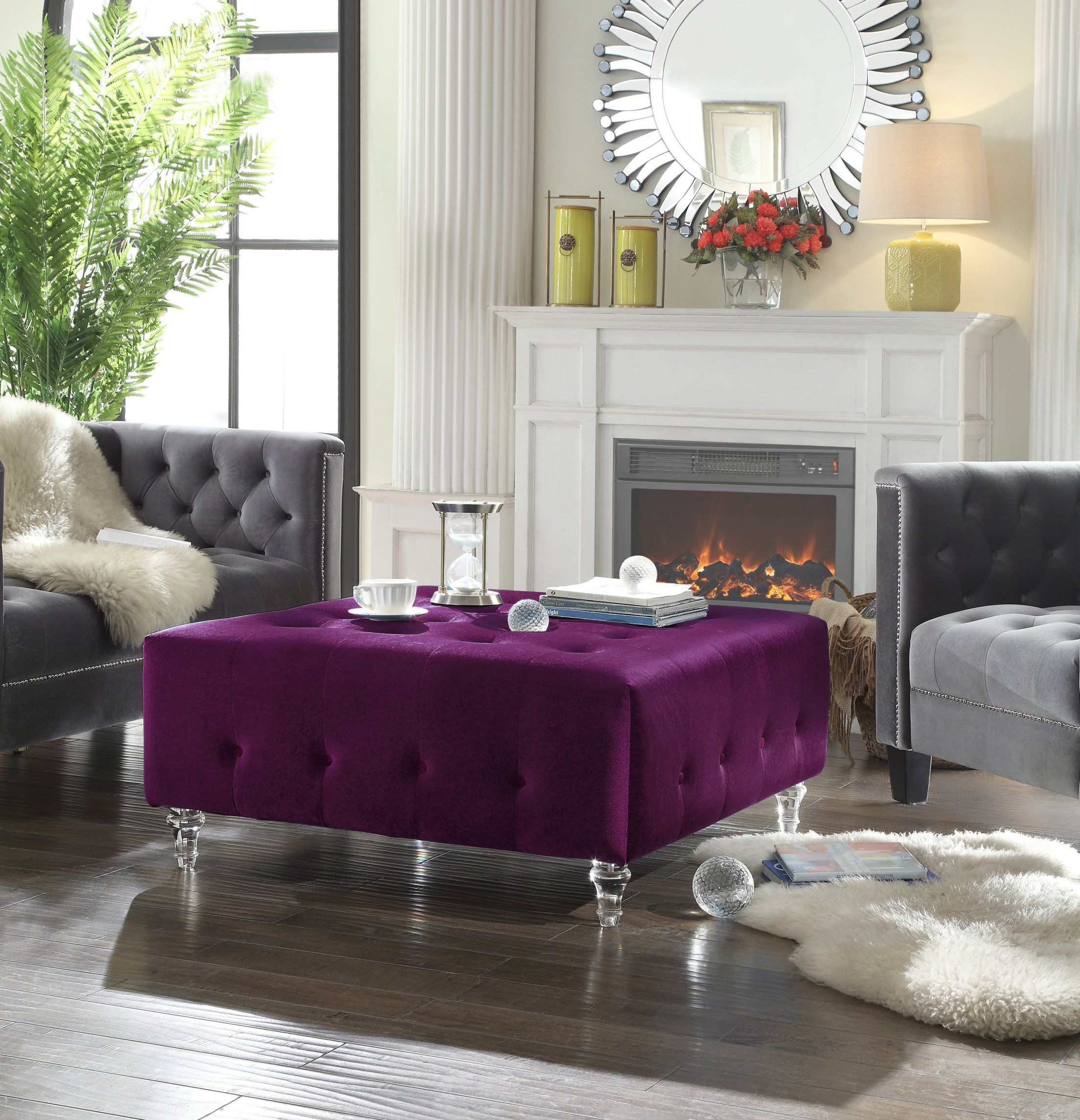 Swell Iconic Home Samspon Coffee Table Ottoman Velvet Upholstered Creativecarmelina Interior Chair Design Creativecarmelinacom