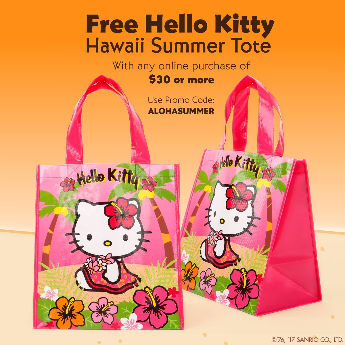 582036e19 Ready for some fun in the sun? Get a free Hello Kitty Hawaii Summer Tote  with any online purchase of $30 or more. Use promo code: ALOHASUMMER