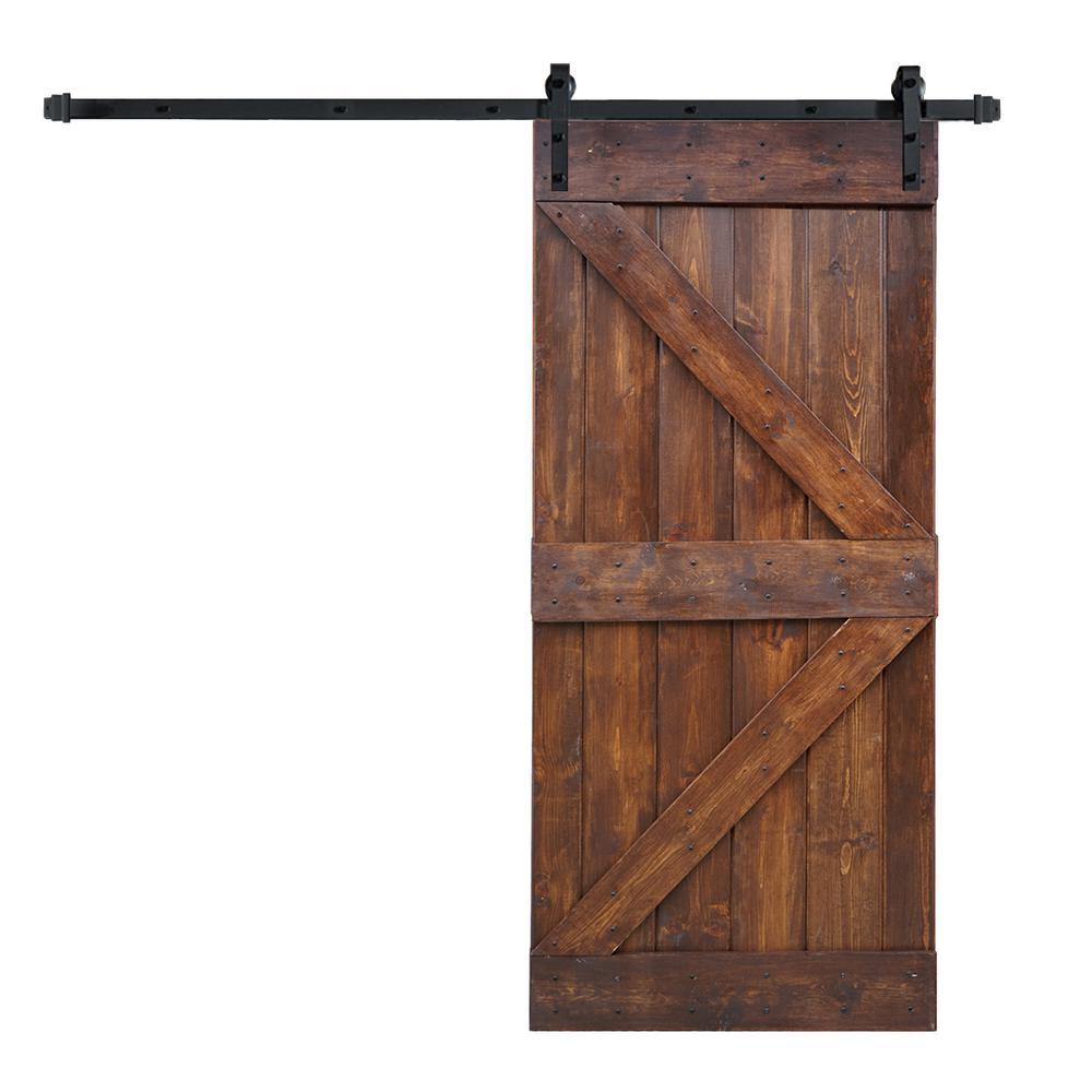 Wellhome 36 X 84 K Series Diy Dark Walnut Finished Knotty Pine Wood Sliding Barn Door With 6 6 Ft Door Track Hardware Kit Sdk 79 Dwb36 D With Images Barn Doors Sliding Barn Door Interior