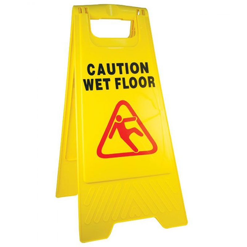 Made Of The Best Grade Polypropylene The Caution Wet Floor Sign Is Bright And Noticeable With Warnings On Both Sides Its Unique Wet Floor Signs Wet Floor Wet