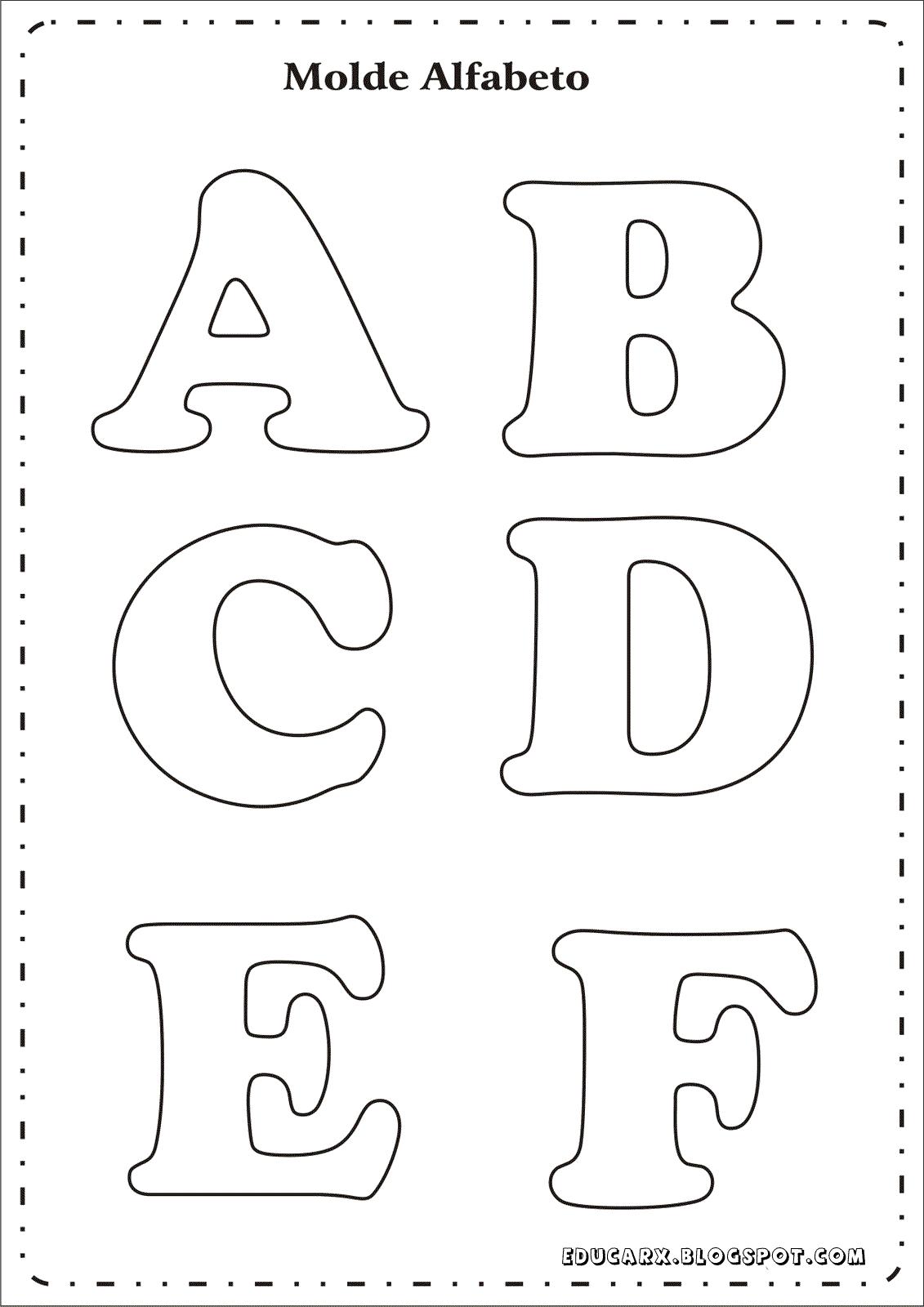 Modelo de letras para cartaz a b c d e f   Moldes   Pinterest ...