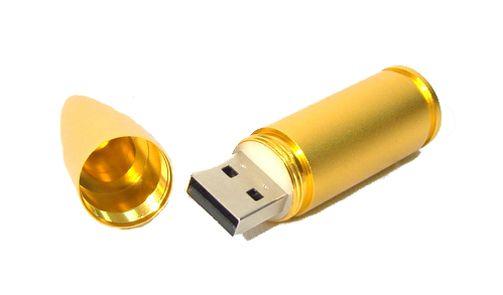 Gold/Silver Bullet Shaped 2GB USB Flash Drive