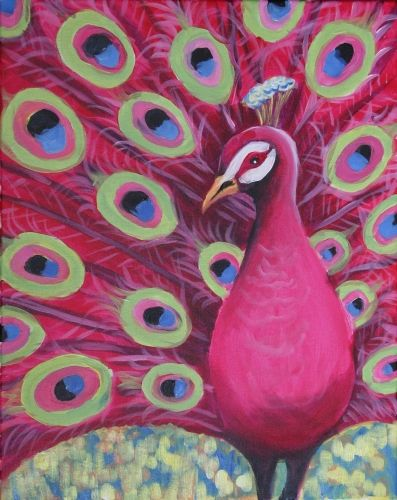 Paint nite drink paint party we host painting events for Easy peacock paintings