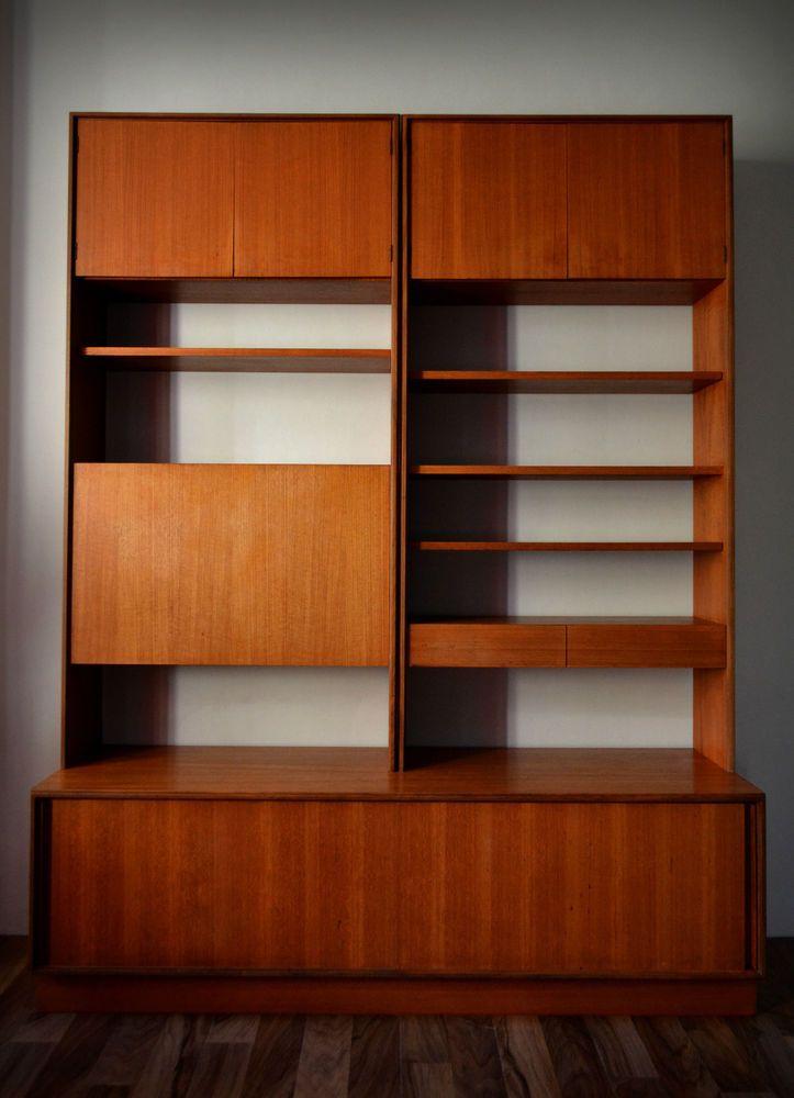 Vintage G Plan Form Five 3 Piece Teak Modular Wall Unit Bookcase