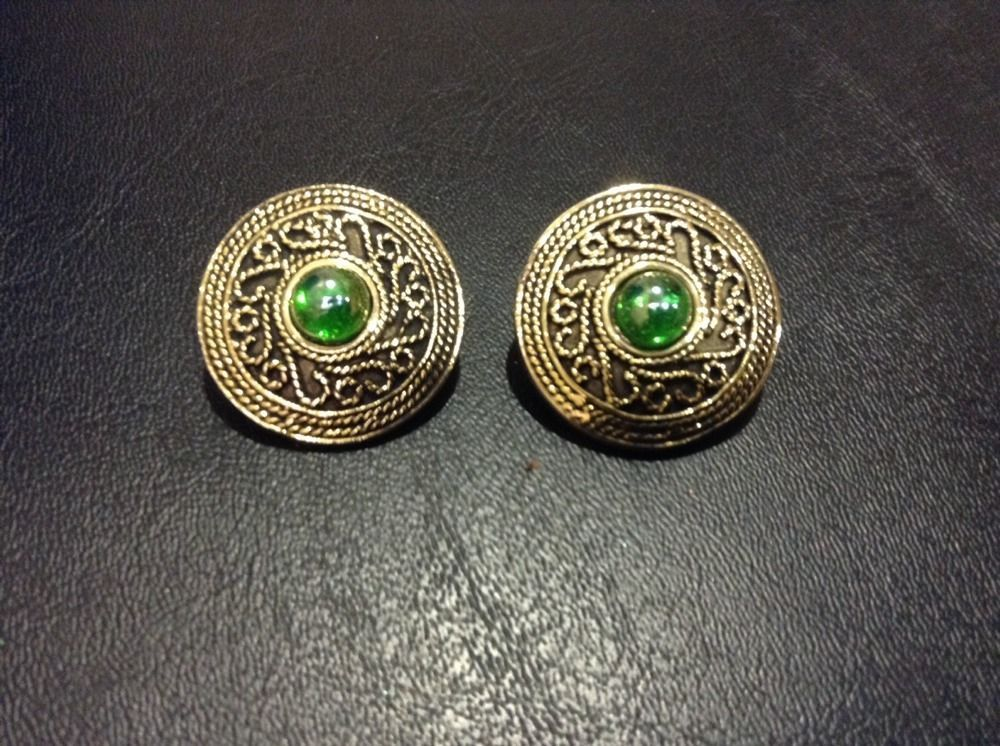 Vintage GoldTone Textured Iridscent Green Glass Stone Clip on  Earrings