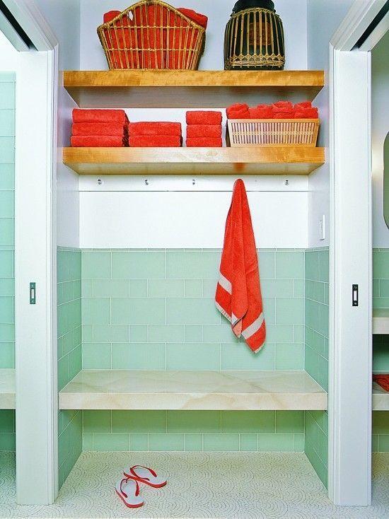Photo of pool house bath.  Like the idea of shelves and hooks under them… – #bath #hook…