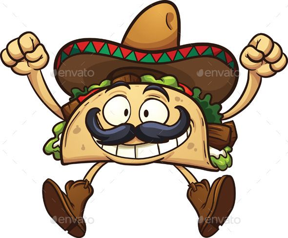 Cartoon Characters Mexican : Cartoon taco mexican mustache and illustrations