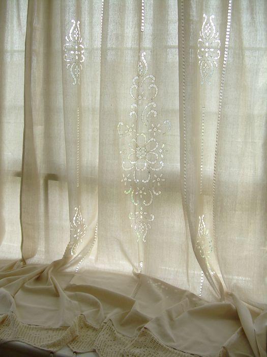 Details About 2 X Tab Top Cotton Linen Crochet Lace Beige Curtain