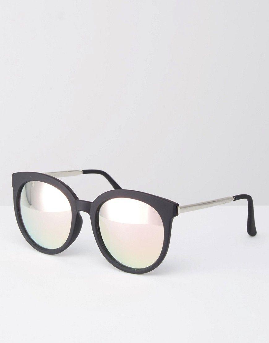 a5df06b1990d Quay Australia x Chrisspy Jetlag Round Pink Mirror Sunglasses with Metal Arm