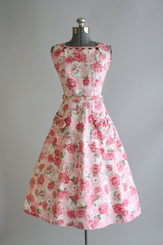 Vintage 1950s Dress / 50s Cotton Dress / Pink and White Floral Dress ...