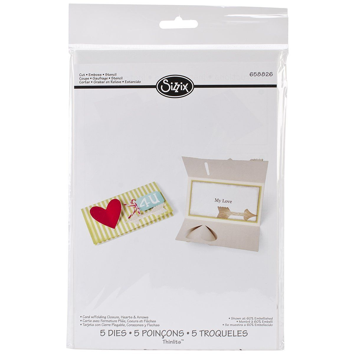 Amazon.com: Sizzix Card Folding/Hearts Thinlits Dies