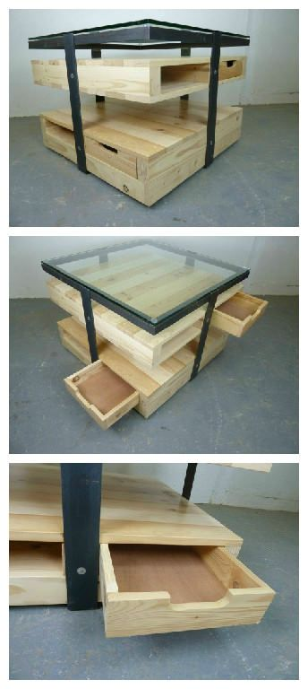 Beautiful Custom Coffee Table Made From Pallets Salvaged Wood And Metals!