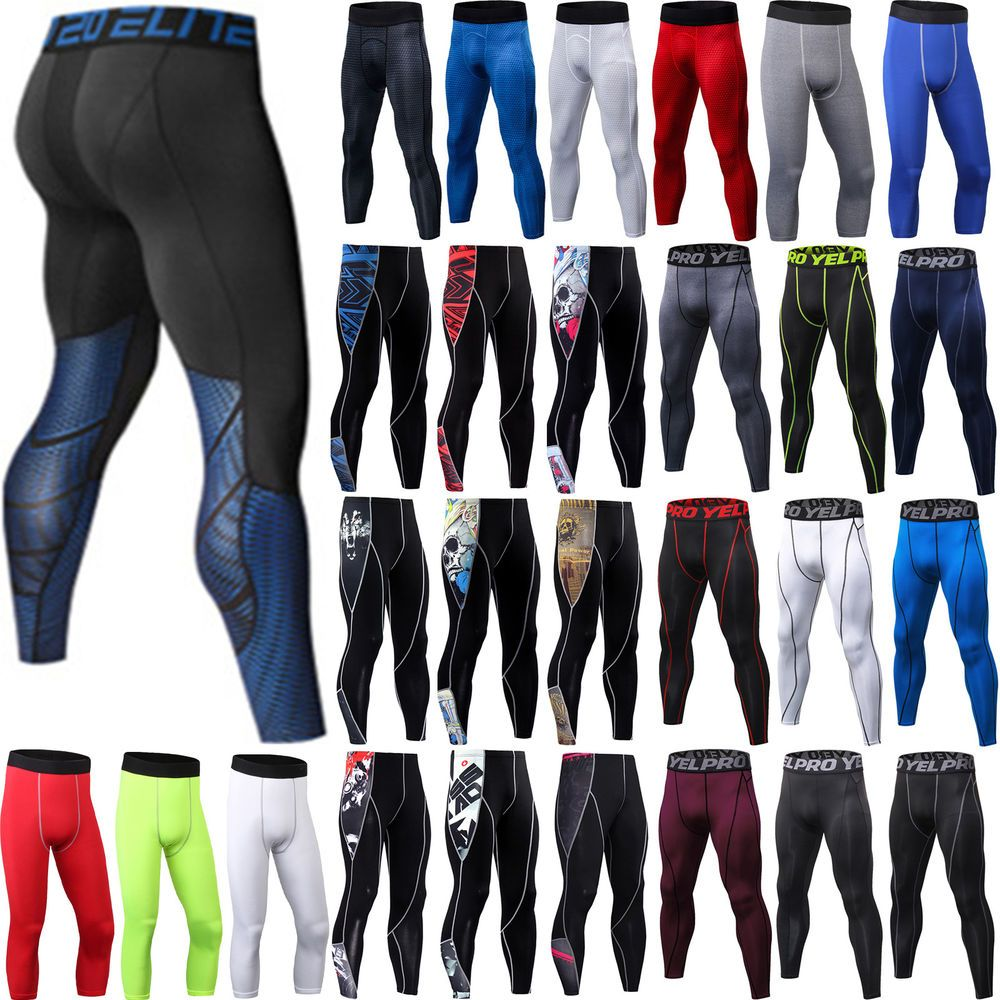 Men/'s Compression Gym Joggers Fitness Sport Stretchy Leggings Base Layer Pants