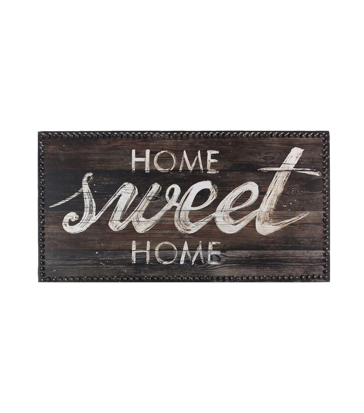 Wood Plaque With Metal Ons 21 65 X11 8 White Home