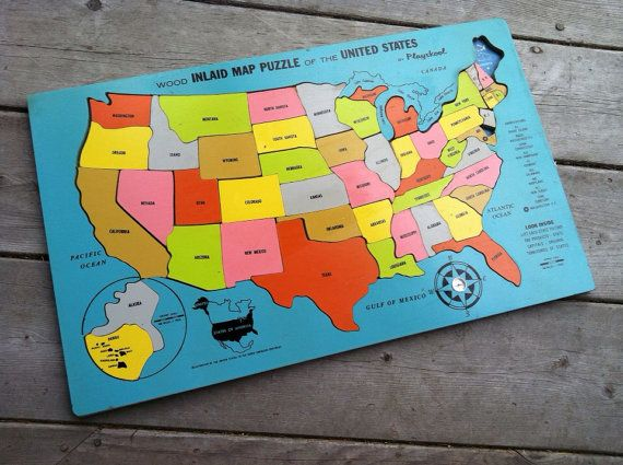 United States Map Puzzles.Vintage 1970s 1960s Playskool Educational Toy United States Wood Map