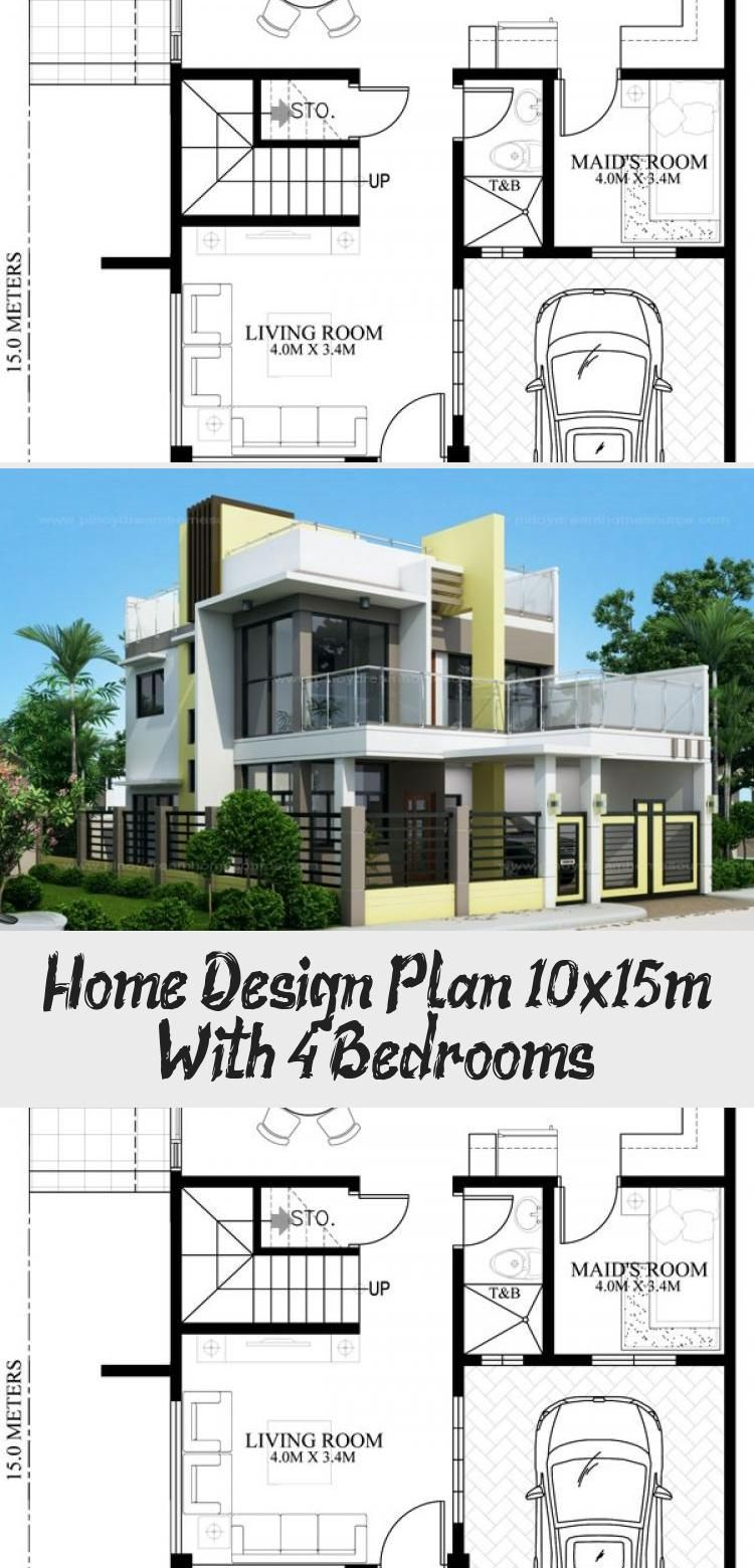 Home Design Plan 10x15m With 4 Bedrooms Home Ideas Floorplans4bedroomsplit Floorplans4bedroomlshape Flo In 2020 Home Design Plan House Design Floor Plan 4 Bedroom