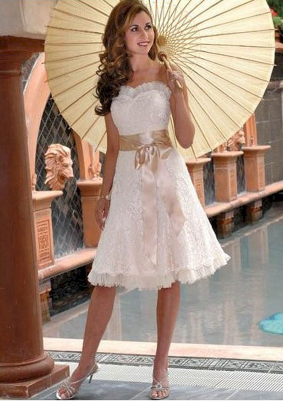 35 Best Short Summer Wedding Dresses Idea For Your Wedding Knee Length Wedding Dress Informal Wedding Dresses Embroidered Lace Wedding Dress [ 1530 x 1080 Pixel ]