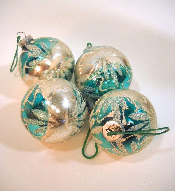 Vintage Glass Ornaments Teal Aqua Blue West by ...