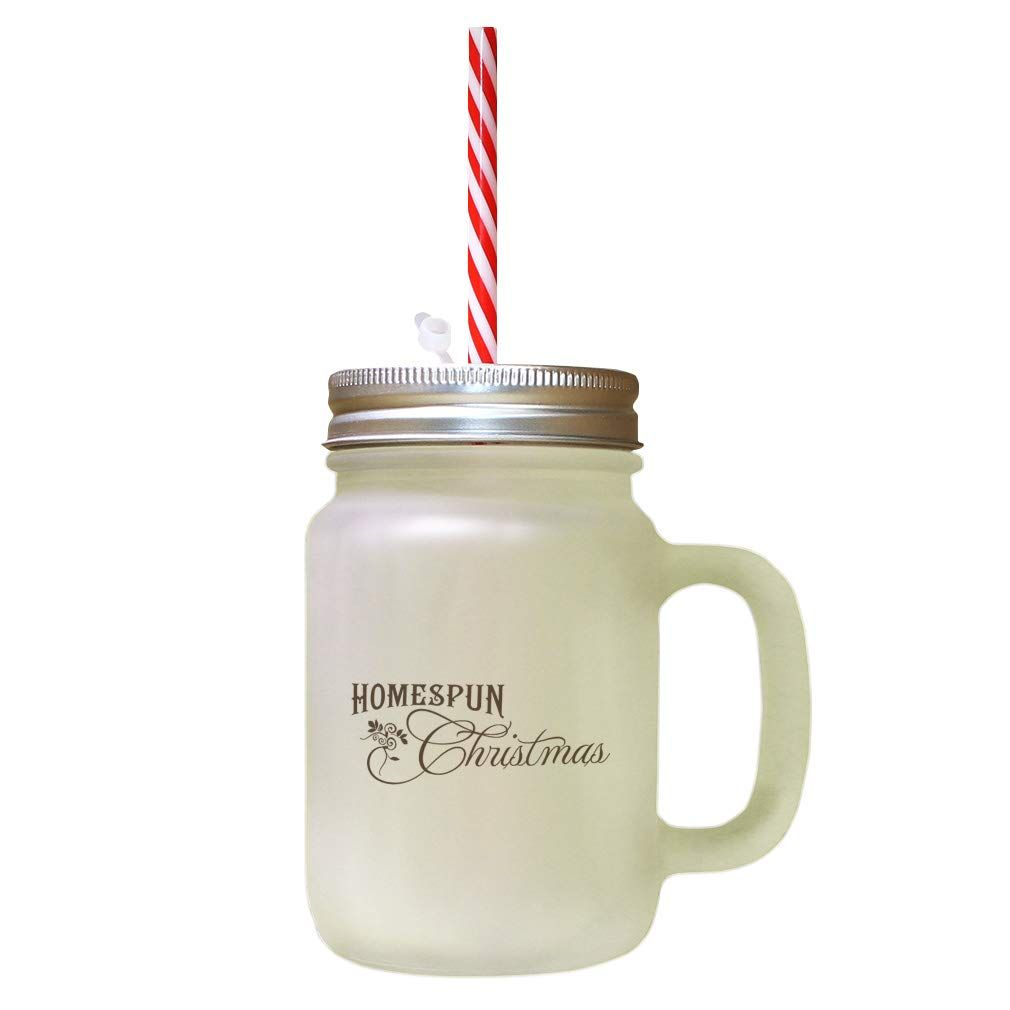 Brown Homespun Christmas Frosted Glass Mason Jar With Straw For More Information Visit Image Lin Christmas Mason Jars Mason Jar With Straw Glass Mason Jars