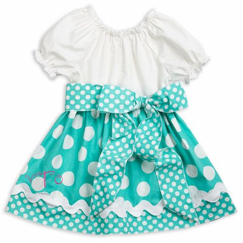 White Turquoise Dot Sash Dress – Lolly Wolly Doodle