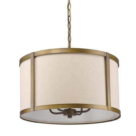 Brass Strapped Drum Pendant Plug In Pendant Light Drum