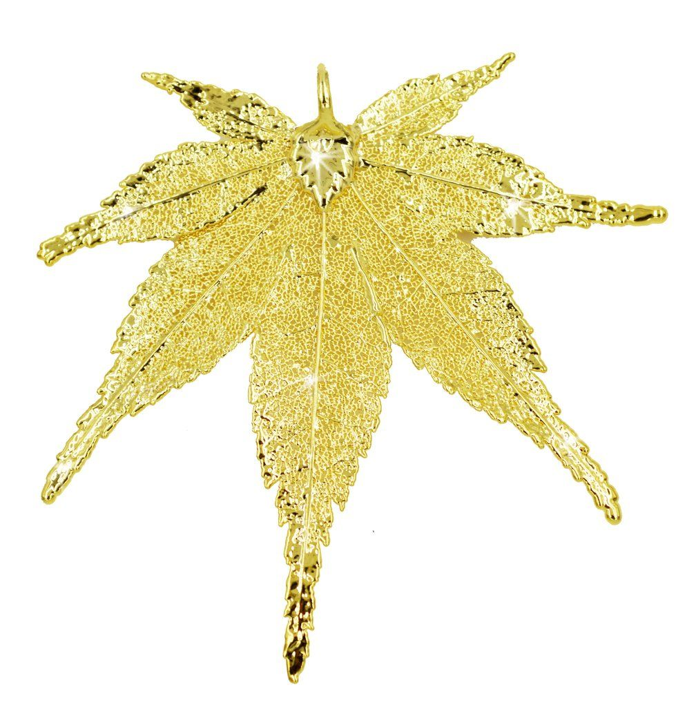 Real Leaf PENDANT Japanese Maple in 24K Yellow Gold Genuine Leaf