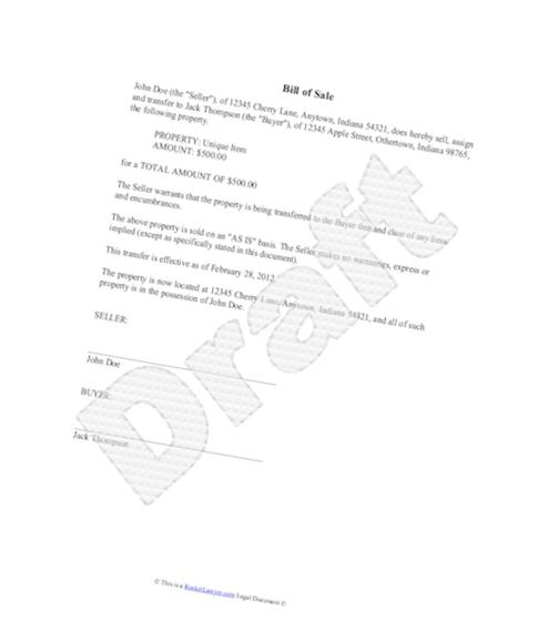 Clear And Simple Bill Of Sale Template For Car Letter