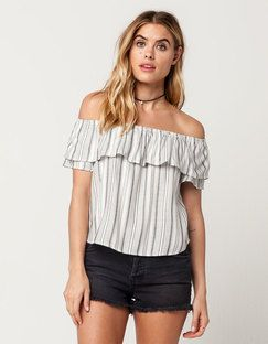 0101b5342aefcb Tilly s SOCIALITE Striped Flounce Womens Off The Shoulder Top Found on my  new favorite app Dote Shopping  DoteApp  Shopping