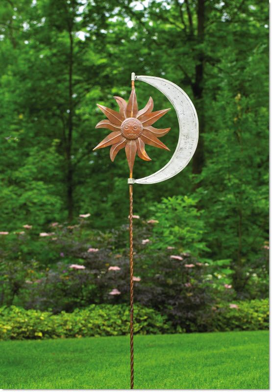 Kinetic Garden Art - Celestial Sun Moon Garden Spinner Stake ...