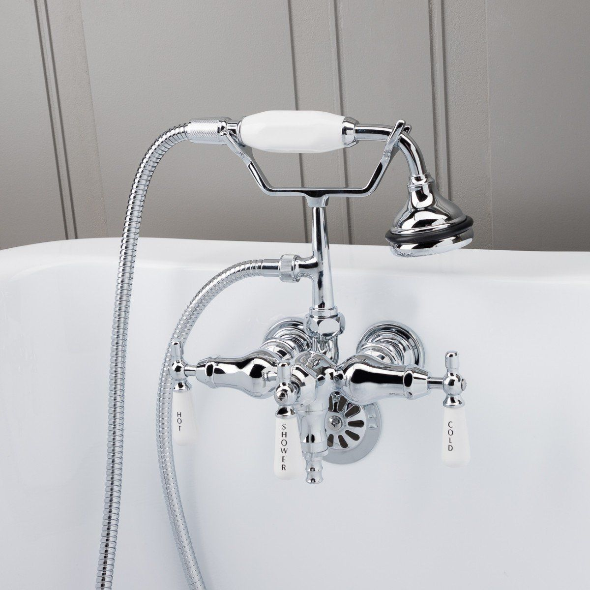 Clawfoot Tub Wall Mount Downspout Faucet With Handshower Tub