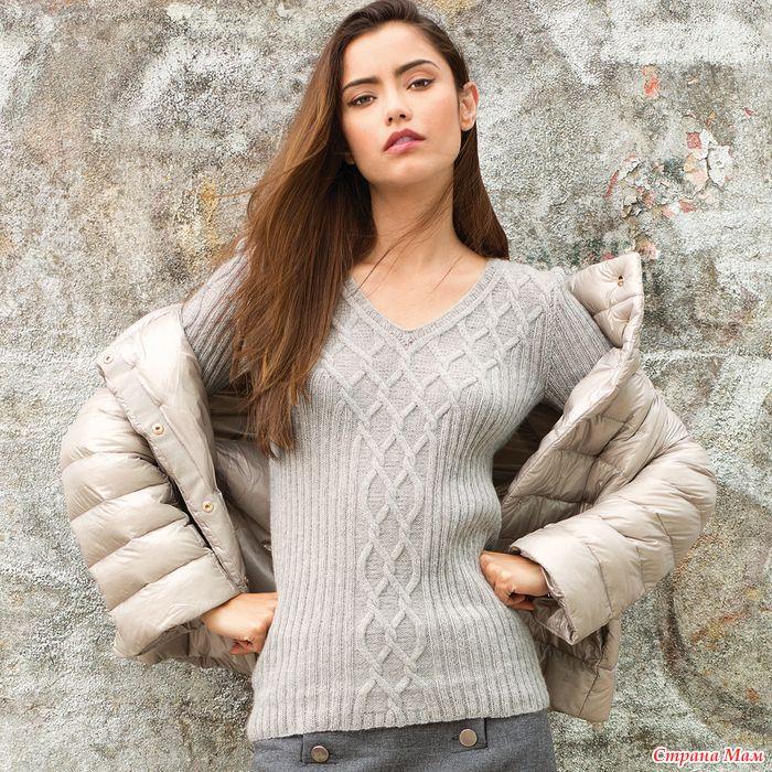 f2e42b73e8cf Пуловер с узором из ромбов   Knitting Sweater   Pinterest