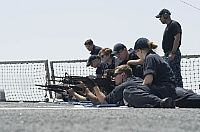 160630-N-FQ994-121  MEDITERRANEAN SEA (June 30, 2016) Sailors participate in an M-16 rifle qualification shoot aboard USS Porter (DDG 78). Porter, an Arleigh Burke-class guided-missile destroyer, forward-deployed to Rota, Spain, is conducting a routine patrol in the U.S. 6th Fleet area of operations in support of U.S. national security interests in Europe. (U.S. Navy Photo by Mass Communication Specialist 3rd Class Robert S. Price/Released)