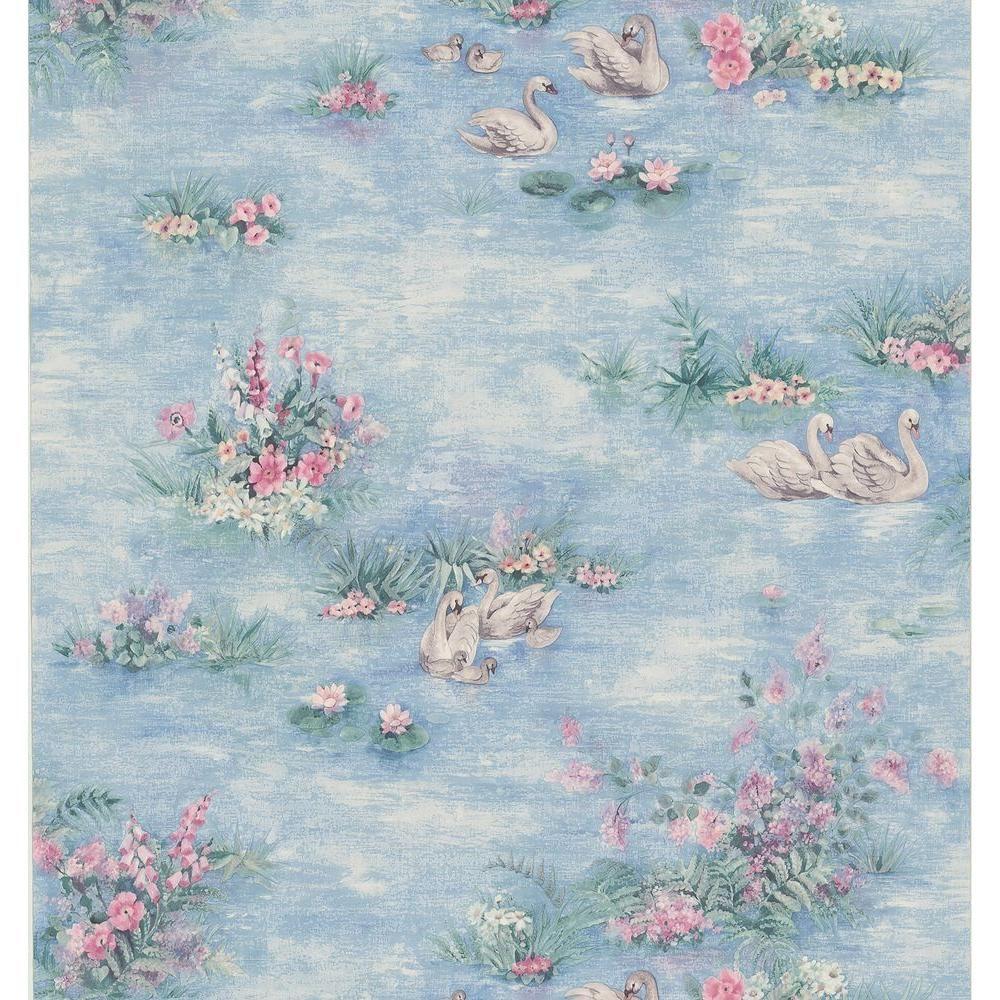 H Swan Wallpaper Sample Blue
