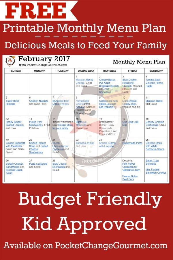 MONTHLY MENU PLAN| FREE PRINTABLE | Budget Friendly Meals for your ...